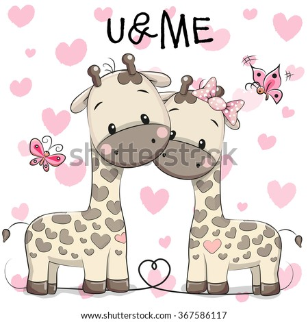 two cute giraffes on a hearts