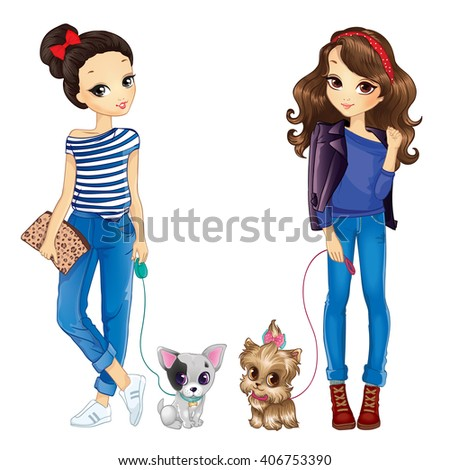 two cute girls walking with dogs