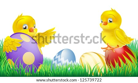 Two cute happy little yellow Easter chicks with colorful decorated Easter eggs