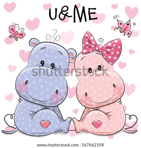 two cute hippos on a hearts