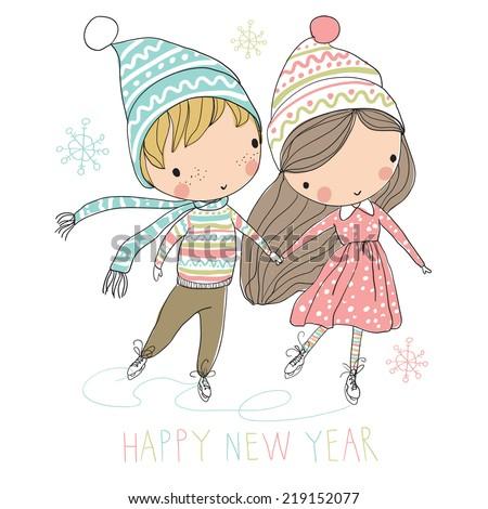 Two cute kids at ice skating Christmas card
