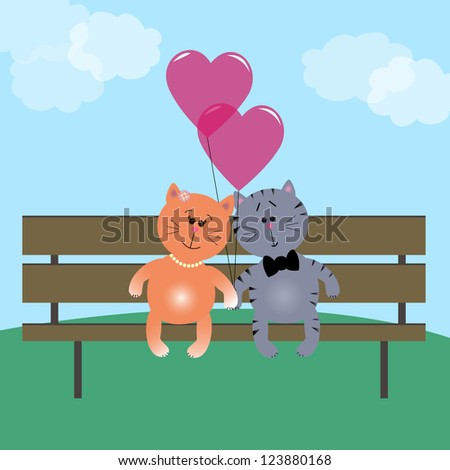 Two cute kittens in love on a bench with heart balloons