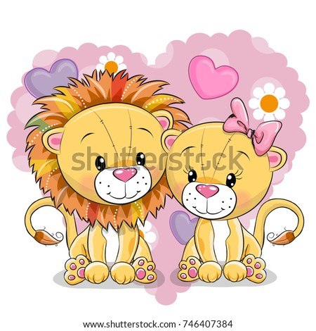 two cute lions on a background