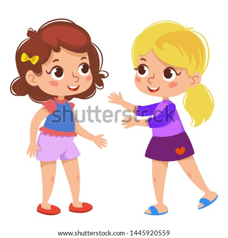two cute little girls are