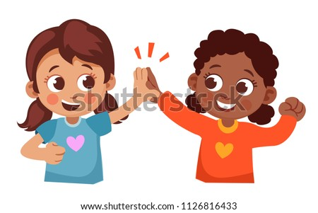 two cute little girls of different Nations giving high five to each other. children friendship cartoon vector illustration.