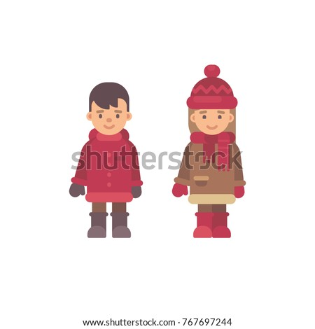 two cute little kids in winter