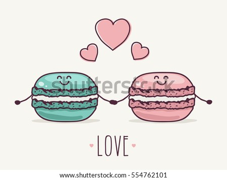 two cute macaron characters in