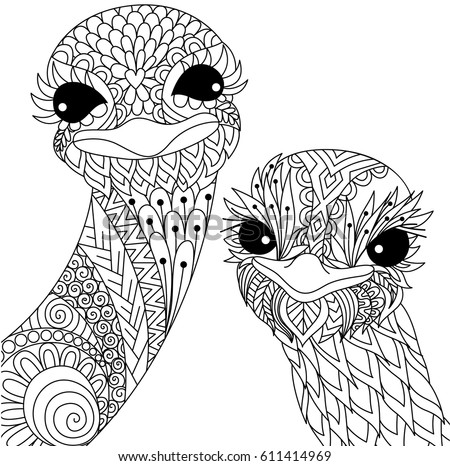 Two Cute Ostrich Smiling Zendoodle Stylize For T Shirt Design And Adult Coloring Book Page