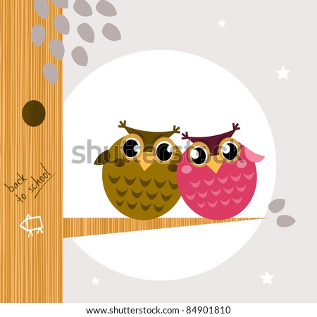 Two cute owl friends sitting on the branch owl family tree moon in