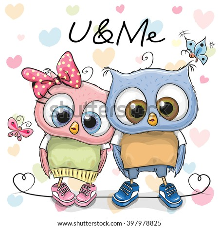 two cute owls on a hearts