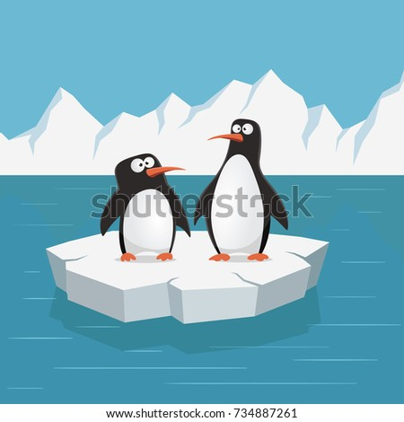 two cute penguins on ice floe
