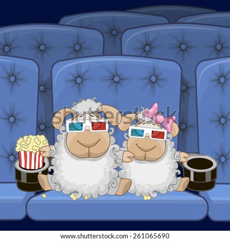 two cute sheep is sitting at