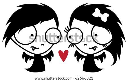 two cute vampires in love