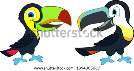 Two cute Vector cartoon rainbow-billed and channel-billed toucans