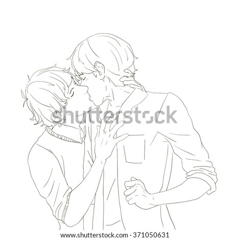 two cute young boys kissing