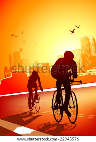 two cyclists riding on a warm
