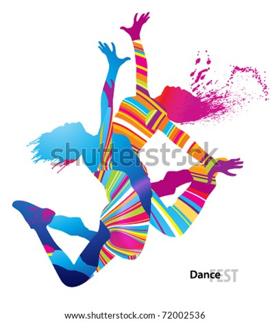 two dancing girls with colorful