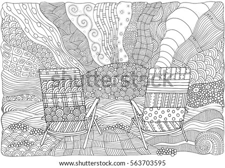 Two Deckchairs On A Beach Facing Out To Sea Coloring Book Page For Adult
