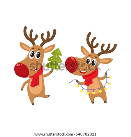 two deer holding a christmas