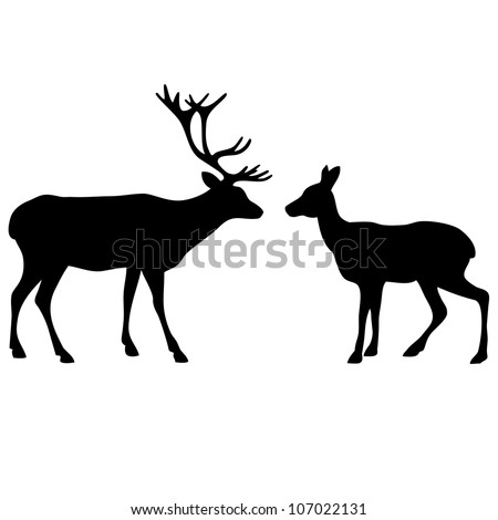 Two deer love silhouettes
