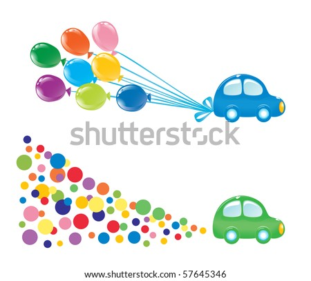 Two design elements with car. Vector-Illustration