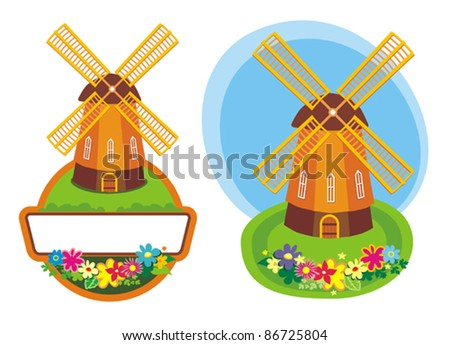 Two design elements with cartoon windmills