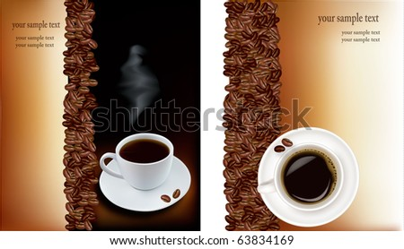 Two designs with cup of coffee and coffee grains. Vector.