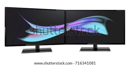 two desktop monitors full hd