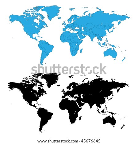 Two detailed world maps, one with country borders, vector illustration