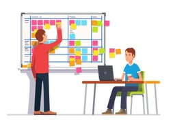 Two developers planning their work. Scrum task board hanging in a team room full of tasks on sticky note cards.  Flat style color modern vector illustration.