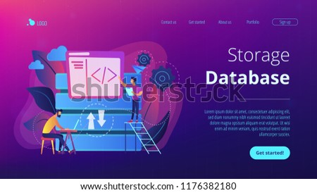 Two developers working with big data technology. Big data management and storage, database analytics and design, data software engineering concept, violet palette. Website landing web page template.