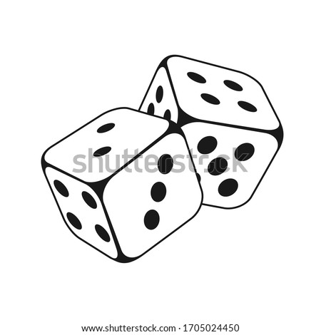 Two Dice Cubes on White Background. Vector icon Illustration Photo stock ©