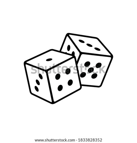 Two Dice icon. casino symbol isolated on White Background, gambling game business concept, Vector Illustration Photo stock ©