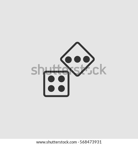 two dices icon flat black