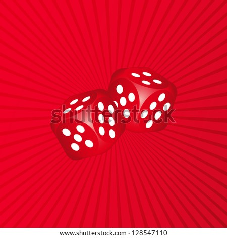 Two dices on red background