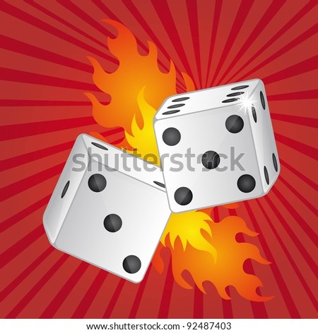 two dices with fire over red background vector illustration