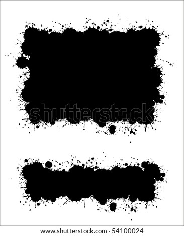 Two different ink splat banners vector #54100024