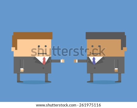 Two diverse business men in suit and tie reaching out