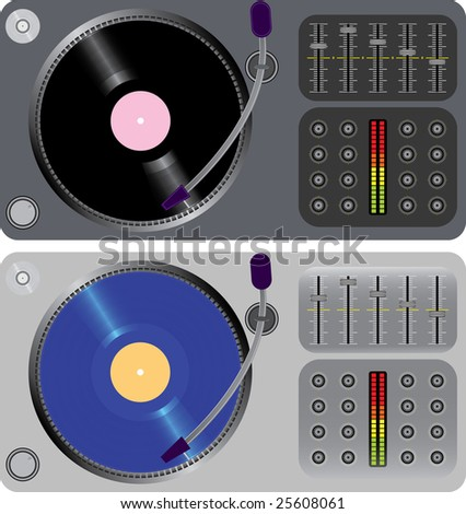 two dj turntables isolated on white(vector, CMYK)
