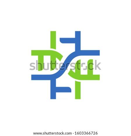 two DNA strand symbol and cross symbol
