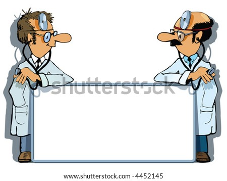 Two doctors are standing with an advertising box