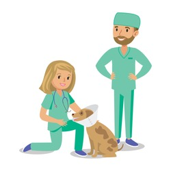 Two doctors with dog. Vet clinic. Cartoon veterinarians healing dog. Vector illustration