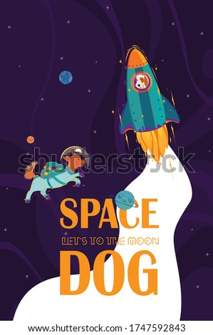 two dogs astronauts   one in
