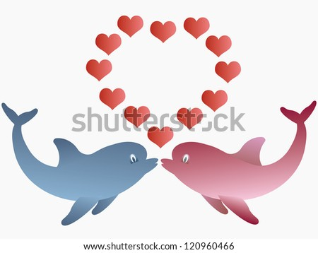 two dolphins and hearts