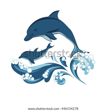 two dolphins and waves  vector