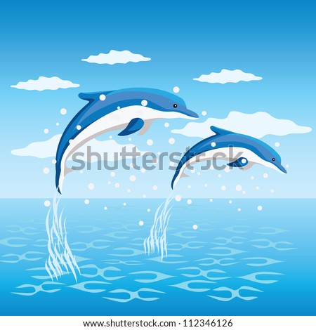 Two dolphins jumping from the sea. - stock vector