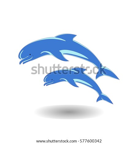 two dolphins jumping icon