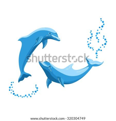 two dolphins playing in the sea
