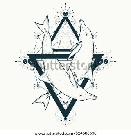 Two dolphins tattoo, love symbols, love tattoo, two dolphins geometric art style, tribal totem animals, t-shirt design. Dolphins in triangles marine tattoo. Adventure, travel, outdoors tattoo