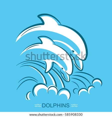 two dolphinsvector symbol